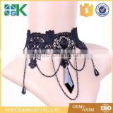 Lace items black stone pendant necklace decorated collar chain retro fake collar lace bridal choker