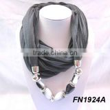 Wholesale jewel scarf with beads necklace