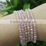 4mm Crystal Fine Beads Long Elastic Necklace Cutting Facets Glass Beads Stretched Necklace Bracelet Plain Jewelry