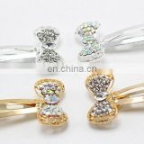 Rhinestone Bow Baby Snap Clip Glitter Sparkling Beaded Hair Pin Silver Gold Baby Barrettes