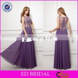 CE133 Charming Sexy A-Line Transparent Corset Prom Dress With Beading Purple Chiffon Evening Gown