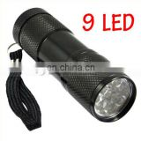 Portable UV Flashlight Violet Light 9 LED UV Torch Light Lamp