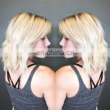 180% density chinese hair blonde full lace wig dark roots