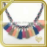 Wholesale vintage style braided cord fashion oversized necklace with tassel FT-013