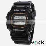 2016 Kwock shock proof,water resistance,silicone sport wrist watch with japan battery