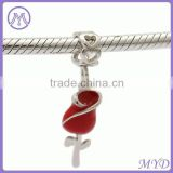Valentines' Day 925 sterling silver rose dangle charms red enameled for DIY European bracelet jewelry