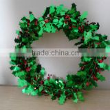 16 feet Christmas Wire Garland with red berries