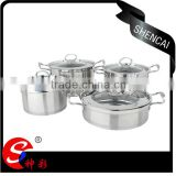 Europe kitchen art Induction Cooker pot stainless steel 4-piece set/Saucepan pot set with glass steel lid