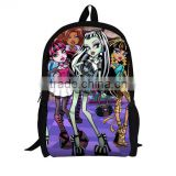 2015 newest children fashion monster high schoolbag girls travel bag kids cartoon school bags kids backpack