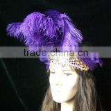 Wholesale Purple Feather Headdress Indian Hairbands Headdress