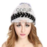 QD82000 New Design Woman Winter Knitted Mink Fur Hats with Silver Fox Fur and Mink Fur Balls