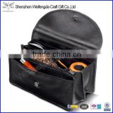 2015 hot new high quality leather tobacco bag with zipper pocket