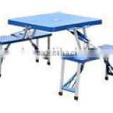 Plastic Portable Folding Table with 4 Bench Seats