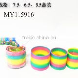 Promotional rainbow spring toy Mini Rainbow Spring toy Colorful Slinky Ring Toy 7.5cm+6.5cm+5.5cm 3sizes in 1