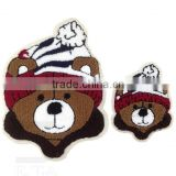 Patches for clothing Big and small Bear Woven label patch stickers Sew Cartoons Embroidery stickers