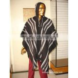 Black Striped Wool Poncho with Hood HandWoven Unisex