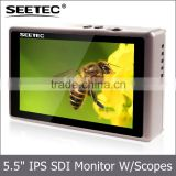 5.5 inch HD display waveform vector scope histogram false color high resolution 1920x1080 cheap digital 3g sdi monitor