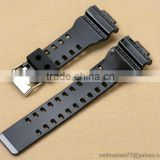Shiny 16mm Black Rubber PU Watch Bands Replacement For G-8900 GLS-8900 GR-8900 GW-8900 GD-100 GD-110 GD-120 GA-110/100/120/200/