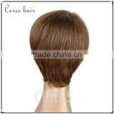 factory price full thin skin cap human hair lace wigs dark brown short silk straight wig