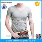 2016 Cheap Wholesale Grey Gym Fitness High Quality V-neck T-shirts Men's Sports Clothing