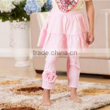 2016 wholesale children clothes light pink baby leggings with skirt kids leggings with flower