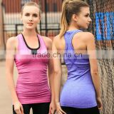Sports Racer Back Tights Tank Top/White Striped Black Shorts Gym