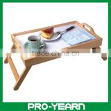 Foldable Bamboo Wooden Serving Tray Table with Handles and Legs for Home and Hotel and Restaurant and Bar