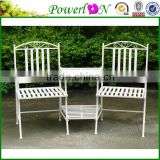 Hot Selling Popular Antique Wrought Iron Metal Bench For Patio Backyard I21 TS05 X11B PL08-34284