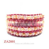 New style handmade freshwater pearl bracelet jewelry with leather warp bracelet