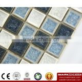 Imark Backsplash Tile Crackle Glazed Ceramic Mosaic Tile Patterns mix China Black & White Marble Mosaic Stone Tile For Kitchen