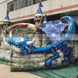inflatable dragon bouncy castle with slide,outdoor inflatable playground play games for kids