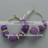 Fashion Purple Basketball Wives Mesh Ball Hoop Earrings FCA-12027