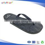 Anit slip black printing rubber flip flop with white line beach slipper basic men slippers