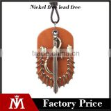 Men Leather Dog Tag Necklace With Cross Charm