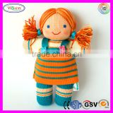 A784 Soft Knitted Crochet Girl Doll Long Skirt Stuffed Cute Knitted Doll