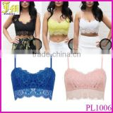 2015 New Fashion Hot Sale Sexy Women Lace Floral Unpadded Bralette Bralet Bra Bustier Crop Top Cami Tank S-XL Wholesale