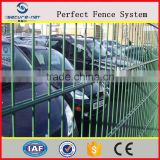 Green galvanized powder coated double wire mesh/2d wire fence panel/double welded wire mesh fence