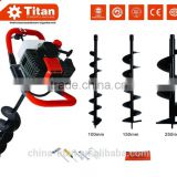 Gasoline 52cc earth auger 3HP Post Hole Borer Ground Drill with 3 Bits + Extension with CE,GS,EUII certificate