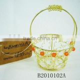 Round Gold Metal gift basket for Christmas Decoration