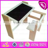 Multi-functional children wooden foldable chalkboard table high quality wooden chalkboard table for kids W08G154A-S