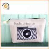 Vintage Camera Applique Zipper Pouch/Makeup Bag: Natural Canvas with Black and Silver Chevron-Print Chiqun Dongguan CQ-H01096