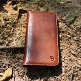 Full grain vegetable tanning leather phone case wallet