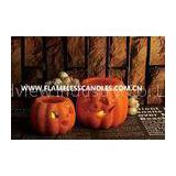Battery Operated Halloween LED Candles , Wax Carved Pumpkin Flameless Candles with Glitter