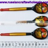 Hohloma Hand Painted Wooden Spoons Tableware Pieces, Wood Handcarved Russia Crafts Ethnic Decorations Art for Sale