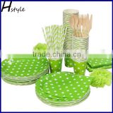 Lot Green Polka Dot Party Paper Tableware Sets 6 Products For Birthday Party Decoration Dinnerware Set SC168