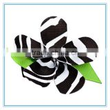 Yiwu handmade zebra ribbon flower hair clip, leopard print hair flowers for kids baby