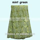10 years African lace Manufacturer organza lace fabric OG0174 mint green