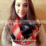 Best Selling Polyester America Flag Printed Infinity Fashion Lady Scarf                                                                         Quality Choice