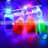 wholesale fashion Acrylic flashlight led Bowling keychain sport keyring party festival gifts decoration