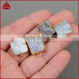 Cheap Square Gold Plated Natural Galaxy Quartz Titanium AB Druzy Chalcedony Connector Double Bails